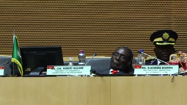 Out going African Union Chairman Robert Mugabe steals the show at the African Union Summit in Ethiopia falling asleep on stage and tripping over at...