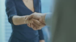 Out of Focus Businesswoman Shakes Her Hand with a Businessman. Hands in Focus. Finalizing the Deal and Concluding Contract with a Handshake.