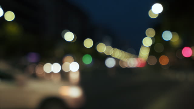Out of focus traffic lights background.