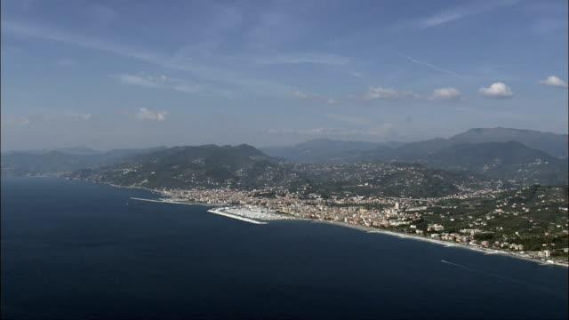 out to sea past lavagna  - aerial view - liguria, provincia di genova, lavagna, italy - lavagna stock videos & royalty-free footage