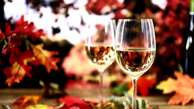 outdoor, autumn wine tasting event with fall leaves. - rose wine stock videos and b-roll footage