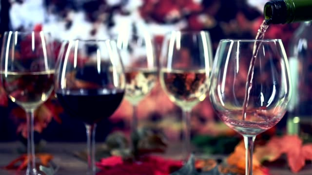 Outdoor, Autumn wine tasting event with fall leaves.