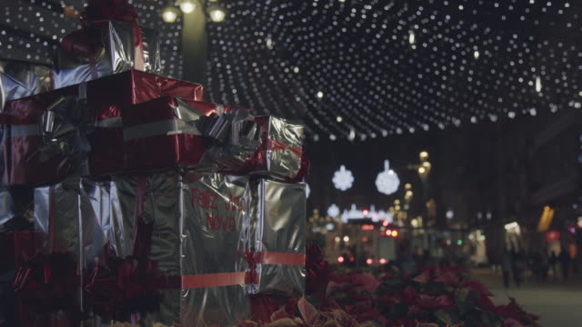 outdoor christmas decorations in the city - galicia stock videos & royalty-free footage