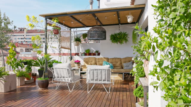 outdoor deck of barcelona apartment - decking stock videos & royalty-free footage