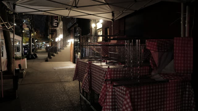 nyc outdoor dining streeteries brace for second shutdown & winter weather - thanksgiving politics stock videos & royalty-free footage