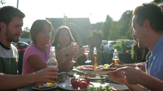 outdoor dinner party - patio stock videos & royalty-free footage