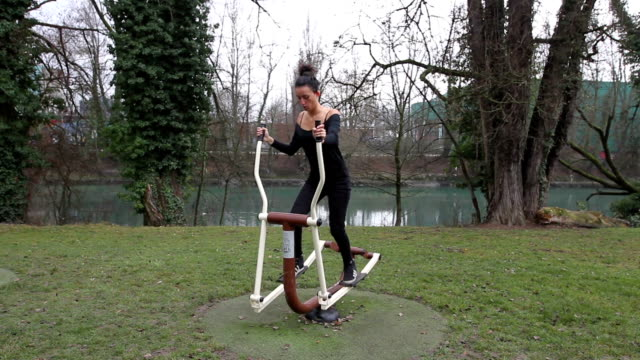 outdoor exercise - cross trainer stock videos and b-roll footage