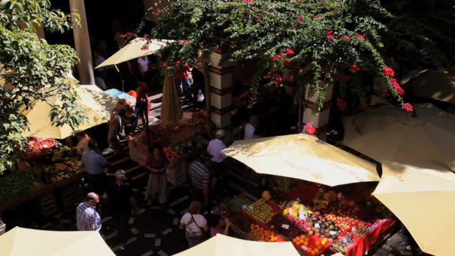 outdoor fresh fruit and vegtable market, funchal, madeira island, portugal - madeira stock videos and b-roll footage