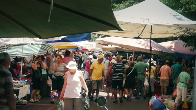 outdoor market in greece - agricultural fair stock videos & royalty-free footage