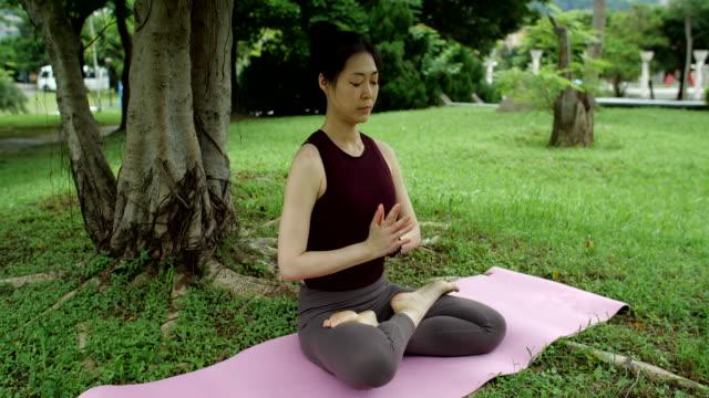 vídeos y material grabado en eventos de stock de meditación al aire libre - posa del loto