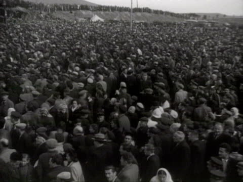 outdoor meeting for opening of new canal audio / georgia - anno 1951 video stock e b–roll