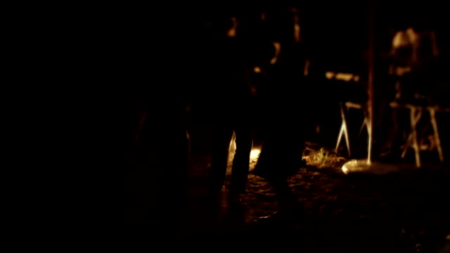 outdoor party at night. people dancing on sand and grass - mini skirt stock videos & royalty-free footage