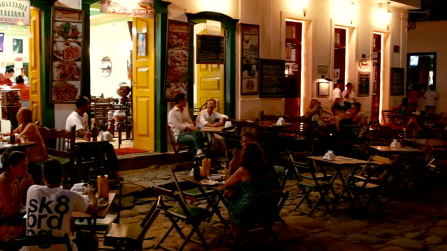 outdoor restaurants of paraty brazil - south america stock videos & royalty-free footage