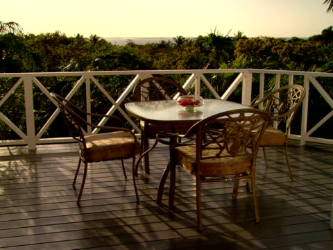 stockvideo's en b-roll-footage met ms,  zo,  outdoor table on terrace,   harbour island,  bahamas - waaierpalm