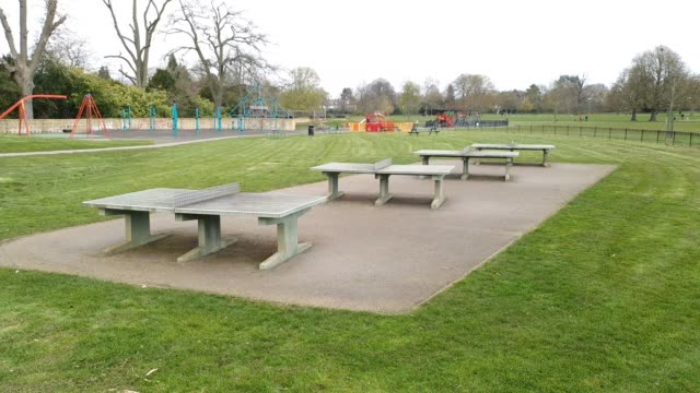 outdoor table tennis tables in a closed off section of dulwich park during the coronavirus pandemic on april 1 2020 in london england - brian dayle coronavirus stock videos & royalty-free footage