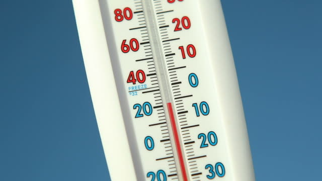 outdoor thermometer against blue sky climbing temperature - thermometer stock videos & royalty-free footage