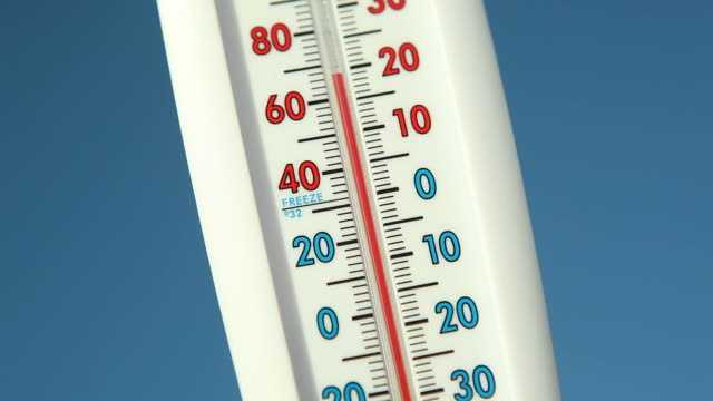 outdoor thermometer against blue sky falling temperature - thermometer stock videos & royalty-free footage