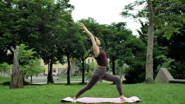 vídeos y material grabado en eventos de stock de yoga al aire libre - posa del loto