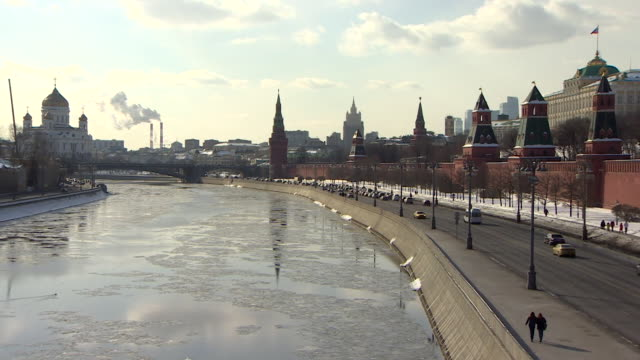 outdoors sequence showing shots of central moscow russia 10pm bulletin absa627d - river moscva stock videos & royalty-free footage