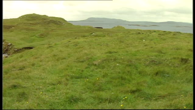 outer hebrides: scaravay : general view remote island spice along by coast spice cooking in camp end lib - hebrides stock videos & royalty-free footage