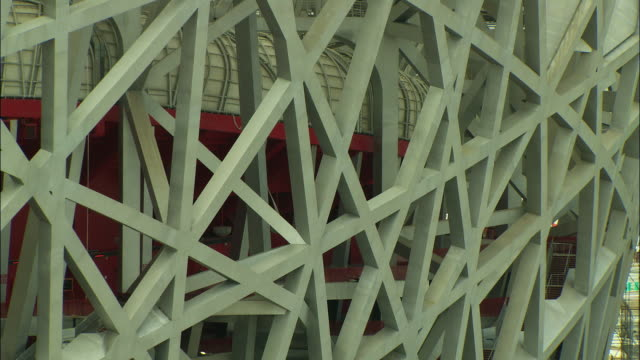 cu outer skeleton of beijing national stadium, beijing, china - bird's nest stock videos & royalty-free footage