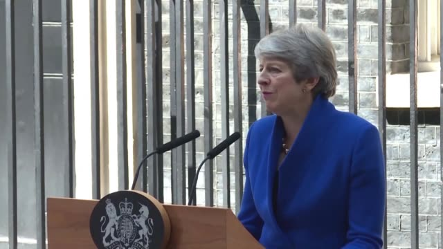 outgoing british prime minister theresa may gives a farewell speech just before tendering her resignation - theresa may stock videos & royalty-free footage