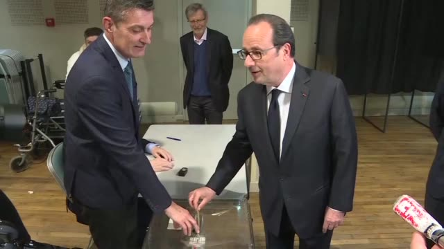 outgoing french president françois hollande voted sunday in tulle his former electoral stronghold in the first round of the most unpredictable... - tulle stock videos and b-roll footage