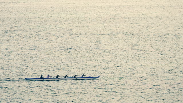 outrigger canoe team rowing near lahaina, hawaii - rowing stock videos & royalty-free footage