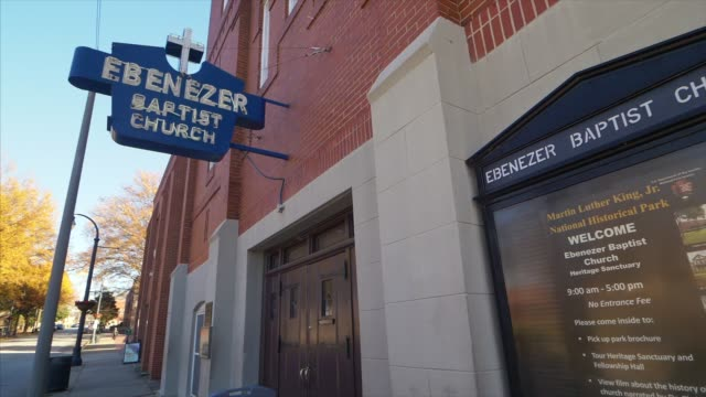 outside ebenezer baptist church - martin luther religious leader stock videos & royalty-free footage