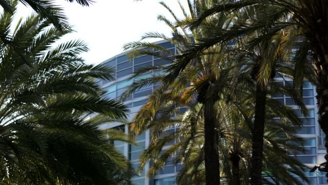 vidéos et rushes de en dehors du centre de convention d'anaheim - anaheim californie