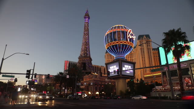 outside paris las vegas hotel in las vegas, nevada, u.s., on sunday, july 26, 2020. caesars entertainment inc. is scheduled to release earnings... - replica eiffel tower stock videos & royalty-free footage