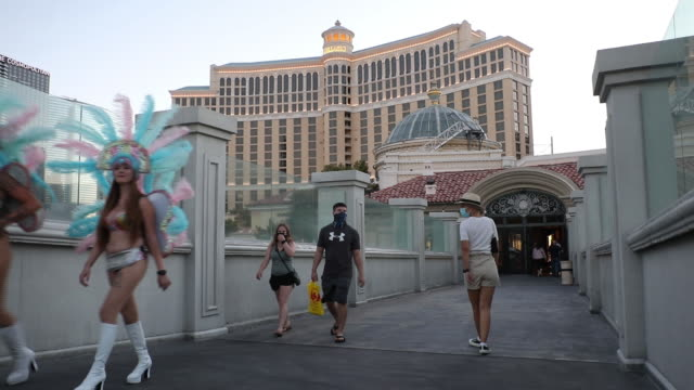 outside the bellagio hotel and casino in las vegas, nevada, u.s., on sunday, july 26, 2020. mgm resorts international is scheduled to releasing... - the strip las vegas stock videos & royalty-free footage
