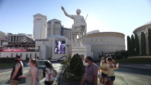 outside the caesars palace hotel and casino in las vegas nevada us on sunday july 26 2020 caesars entertainment inc is scheduled to release earnings... - western script stock videos & royalty-free footage