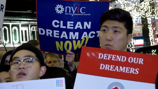 Outside the office of NY Senator Chuck Schumer demonstrators rally demanding the passage of a 'clean' Dream Act The also voiced their opinion on the...