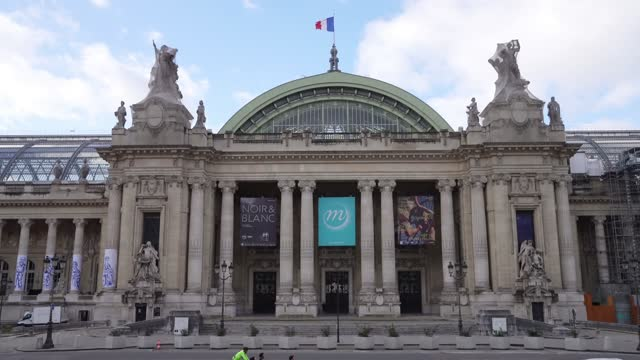 outside view of the empty grand palais, during paris haute couture spring/summer 2021 collection, as part of paris fashion week on january 25, 2021... - grand palais stock videos & royalty-free footage