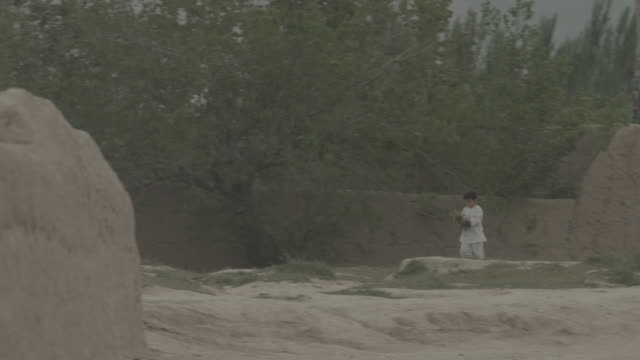 outskirt of herat, afghanistan, a child gathers plants - 2014 stock videos & royalty-free footage