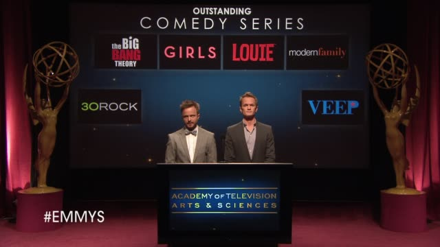 outstanding comedy series announcement by aaron paul and neil patrick harris at the 65th primetime emmy awards nominations announcement speech -... - emmy awards nominations stock videos & royalty-free footage