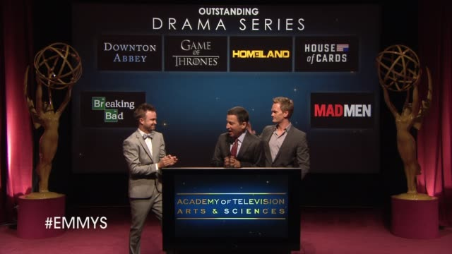 outstanding drama series announcement by aaron paul and neil patrick harris at the 65th primetime emmy awards nominations announcement speech -... - nomination stock videos & royalty-free footage