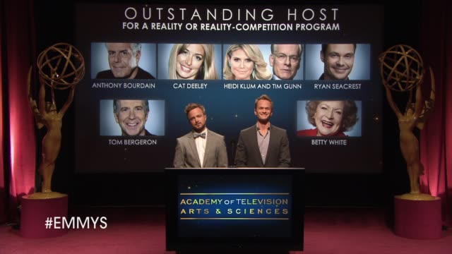 outstanding host for a reality or reality-competition program announcement by aaron paul and neil patrick harris at the 65th primetime emmy awards... - emmy awards nominations stock videos & royalty-free footage