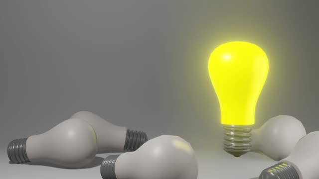 outstanding light bulb floating yellow color - leadership illustration stock videos & royalty-free footage