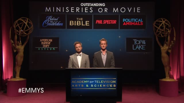 outstanding miniseries or movie announcement by aaron paul and neil patrick harris at the 65th primetime emmy awards nominations announcement speech... - emmy awards nominations stock videos & royalty-free footage