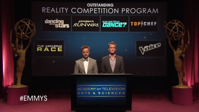 outstanding reality competition program announcement by aaron paul and neil patrick harris at the 65th primetime emmy awards nominations announcement... - emmy awards nominations stock videos & royalty-free footage