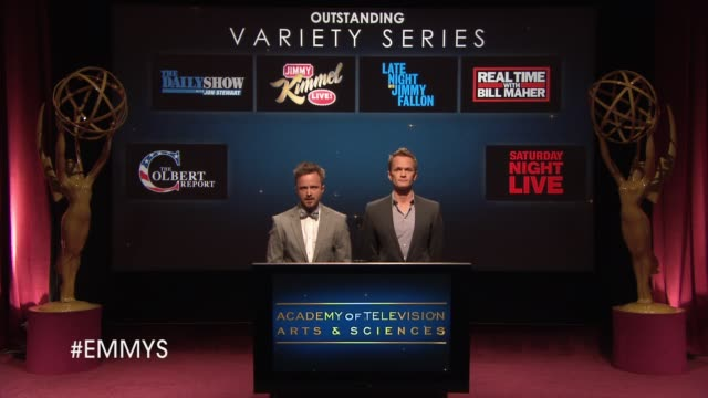 outstanding variety series announcement by aaron paul and neil patrick harris at the 65th primetime emmy awards nominations announcement speech -... - emmy awards nominations stock videos & royalty-free footage