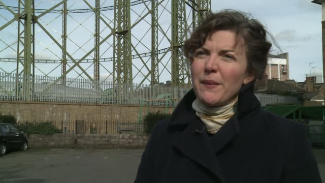 oval gasholder given protected status; kennington: various views of the now decommissioneed gasometer emily gee interview sot the oval: various views... - oval kennington stock videos & royalty-free footage
