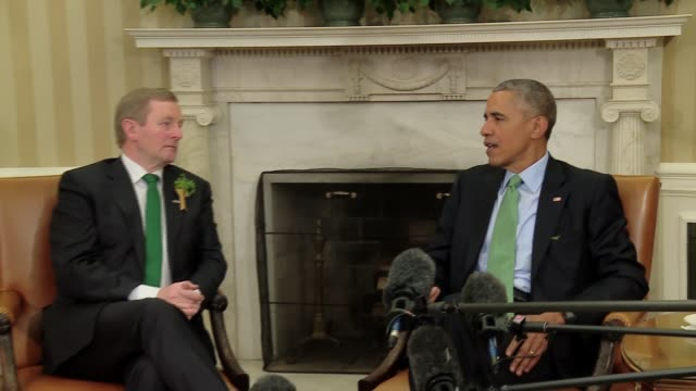 stockvideo's en b-roll-footage met oval office press interaction with us president barack obama and irish prime minister enda kenny the taoiseach sound is wild traditional visit timed... - minister president