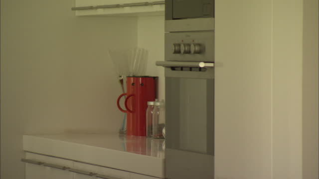 MS Oven door and countertop in kitchen of model home, Beijing, China