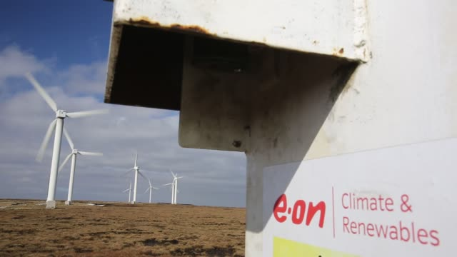 ovenden moor wind farm owned by e.on above keighley, west yorkshire, uk, one of the uk's oldest wind farms. - west yorkshire stock videos & royalty-free footage