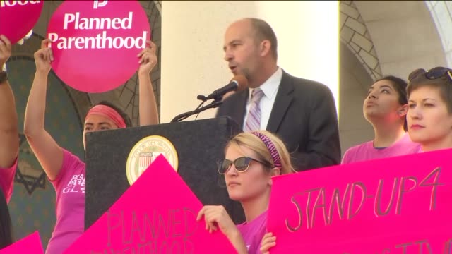 KTLA Over 200 Planned Parenthood supporters staff and volunteers rallied in downtown LA at Los Angeles City Hall South Lawn to speak out for women's...