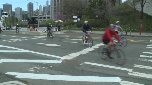 over 32000 cyclists had the opportunity to bike through all five boroughs on streets free of traffic for td's annual five boro bike tour the event is... - transportation event stock videos and b-roll footage