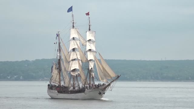over 40 tall ships sail canadian waters to mark the 150th anniversary of the canadian confederation - anniversary stock videos & royalty-free footage